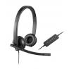 Audífonos con Micrófono Logitech H570e, Alámbrico, USB, Negro