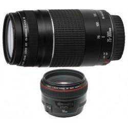 Kit CANON 6473A031AA Lente EF 50mm f1.8 y Lente EF 75 300mm f4.05.6 III Para Cámara EOS